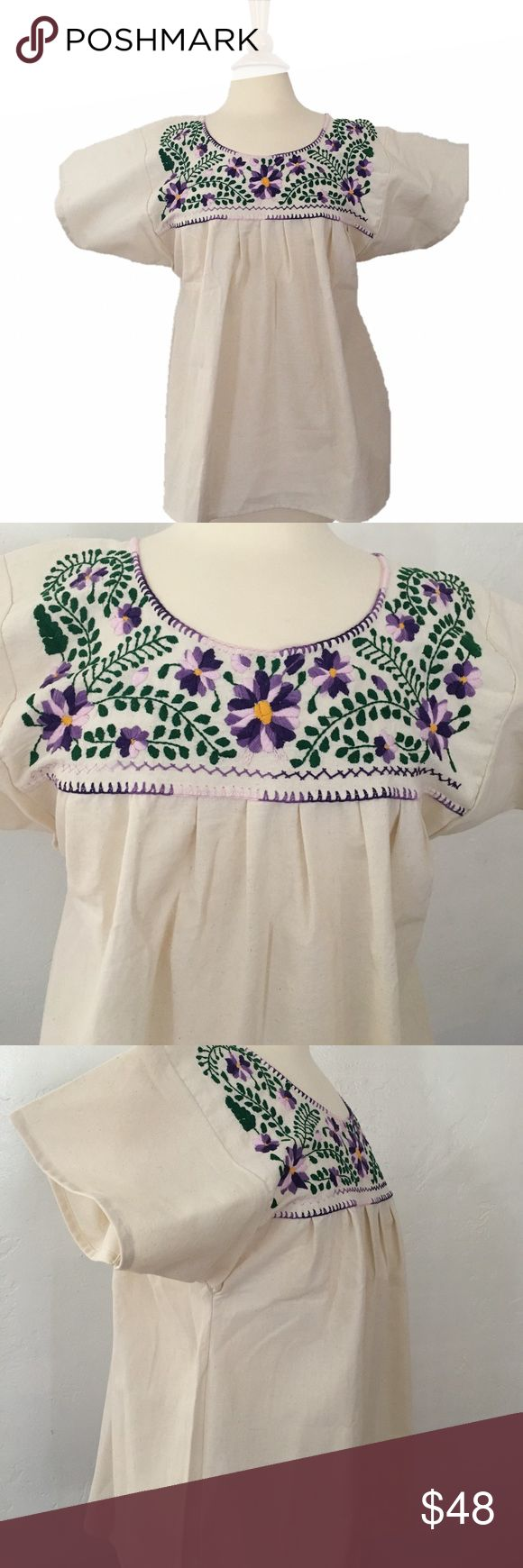 Purple Embroidered Boho Artisan Festival Blouse Super cute bohemian top from Mexico. Purple Embroidery. New condition. Perfect for spring and summer and Coachella festival Mexico Tops