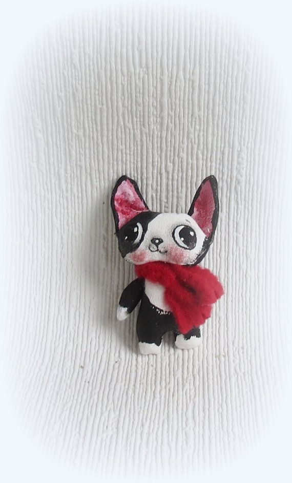 Tiny 3 inch black and white Boston Terrier Hand painted Hand made Dressed in a red fleece scarf . Original SH collectable . Great gift for a Boston Terrier lover . Favourite Blythe toy or accessory.