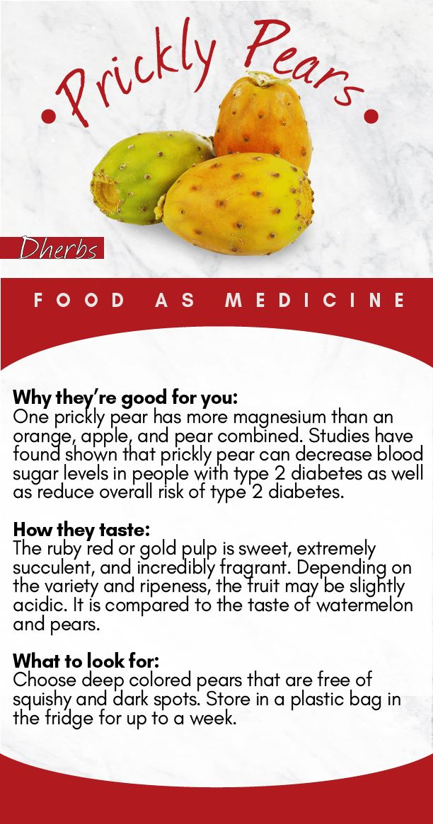 PRICKLY PEAR: One prickly pear has more magnesium than an orange, apple, and pear combined. Studies  have found that prickly pear can decrease blood sugar levels in people with type 2 diabetes as well as reduce the overall risk of type 2 diabetes.