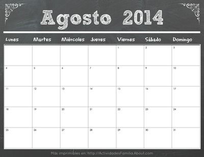 Calendario Agosto 2014 #Calendario #Imprimible #Printable #Calendar
