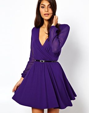 ASOS Skater Dress With Chiffon Sleeves And Belt  $56.29