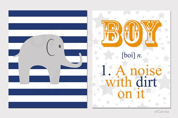 hahaha Boy Quote Elephant Stripes Nursery Wall Art Print Set - TWO PRINTS - Boy With Dirt On It Noun - Blue Orange Grey White Colors - 8x10 inch