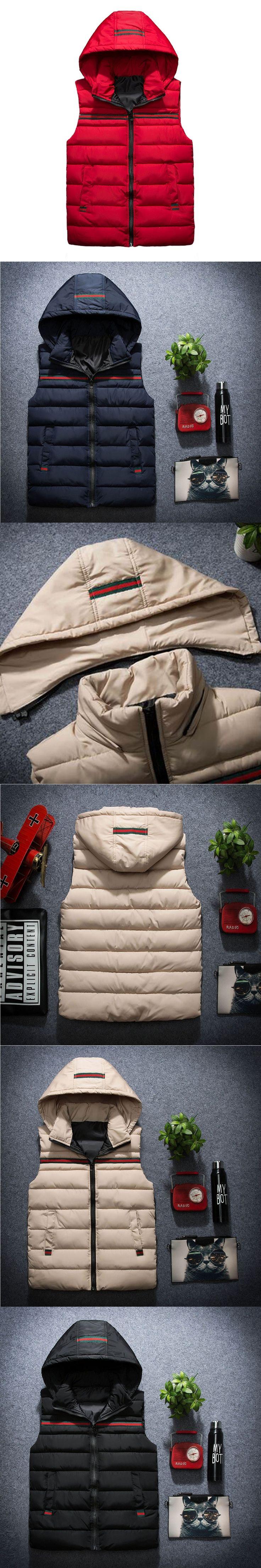 Vest Men Sleeveless Jacket Winter Fashion Striped Colete Male Hat Detachable Waistcoat Zipper Cotton-Padded Warm Gilet WS2104