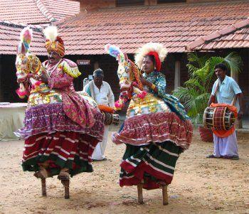 Poikkal kudhirai/dummy horse dance (Tamilian version), performed by Thangai G. Raju and Lakshmi, image via narthaki.com