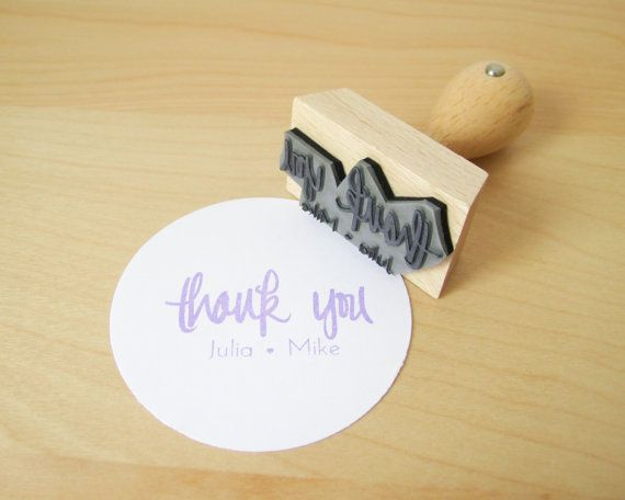 Personalized Wedding Calligraphy Thank You Stamp  by papersushi