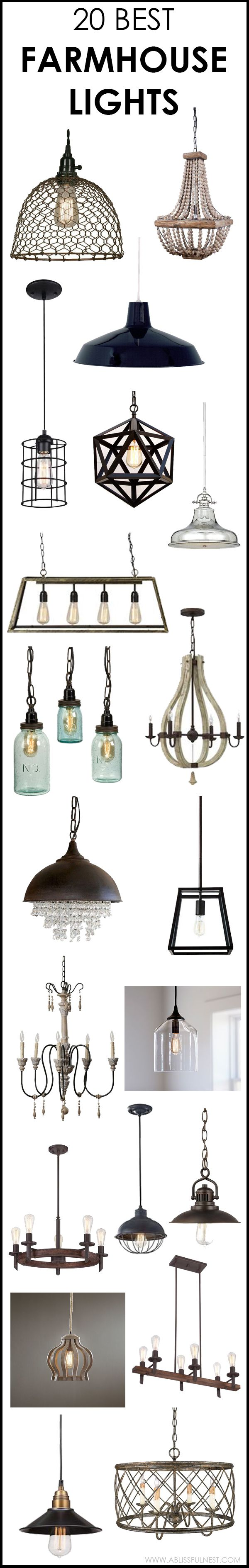 We've got 20 of the best farmhouse lights for you to choose from! If you are looking to get that Fixer Upper style then you will love these industrial lighting choices to get you that vintage farmhouse style. See more on ablissfulnest.com #farmhouse #farm