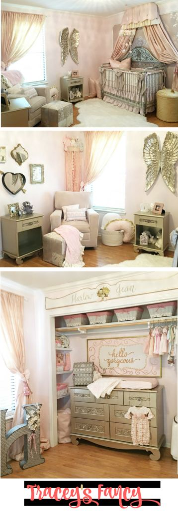 Pink & Gold Baby Nursery Decor and Nursery Decorating Ideas. Tracey's Fancy designed a gorgeous baby girl's nursery complete with vintage pieces, angel wings, beautiful fabrics in pinks and metallics.
