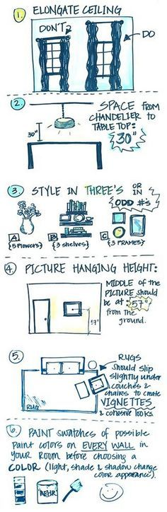 Interior Design Tricks and Rules. How to make your ceilings look taller. Distance from table to light fixture. How to decorate any room. Picture Hanging Height Tips. How to place furniture on rug. How to test your walls before painting. Paint Color Test. #InteriorDesign #Tips Via Fancy Fixtures.