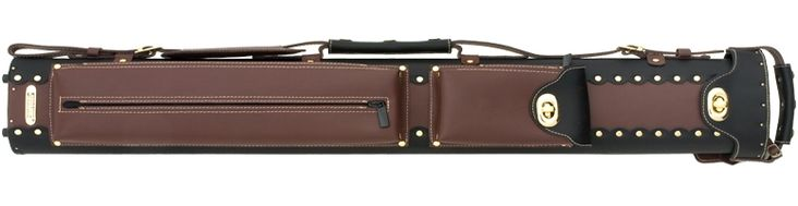 2x2 Instroke Leather Cowboy Cue Case-Instroke's popular two-tone leather Cowboy Series cue case features black and brown leather with gold hardware.