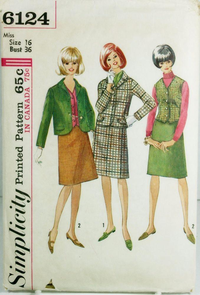 Simplicity 6124 Vtg Sewing Pattern Sz 16 Plus Suit Vest Skirt Career #Simplicity #BusinessCasual