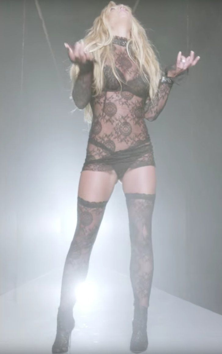 """Pin for Later: Britney Spears Gave a Nostalgic Nod to Her Iconic Lace Look in the """"Make Me"""" Video Britney in 2016"""