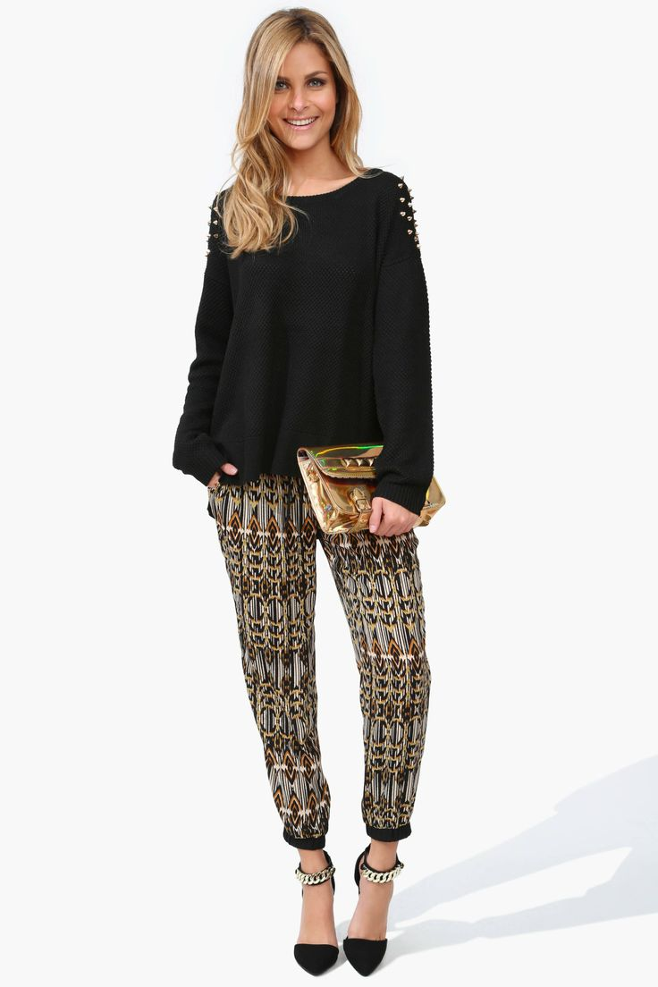 Black, Brown & Gold Print Drawstring Pants.