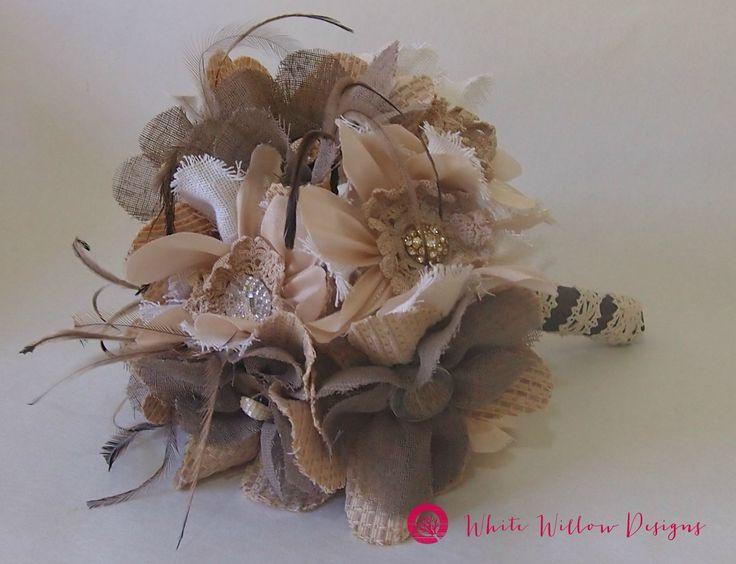 Eco concious bride; handmade fabric wedding bouquet. Bridal bouquet classic vintage detail ivory bling, wedding flowers