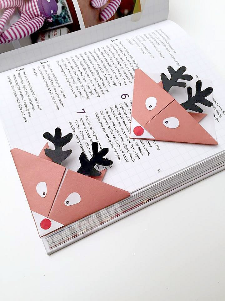 Adorable Reindeer Bookmarks. These are so so cute and simple to make. They nestle perfectly into your book, so don't bend or break - Red Ted Art's Blog
