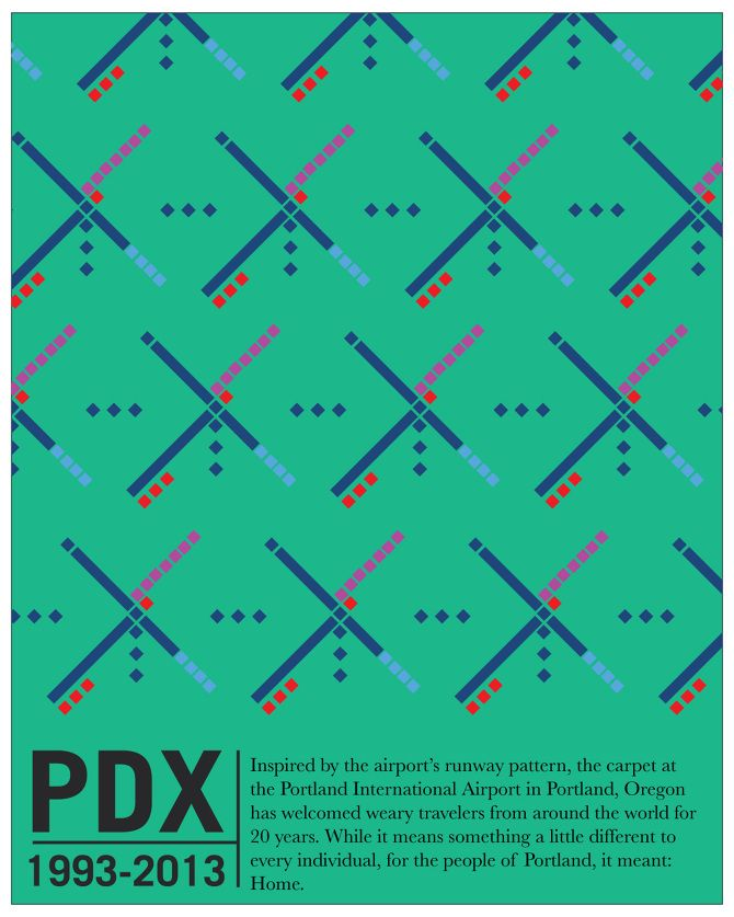 PDX Carpet Farewell.  The iconic carpet was designed by SRG Architects in 1987, and has been installed in the Portland International Airport 1993-2013.