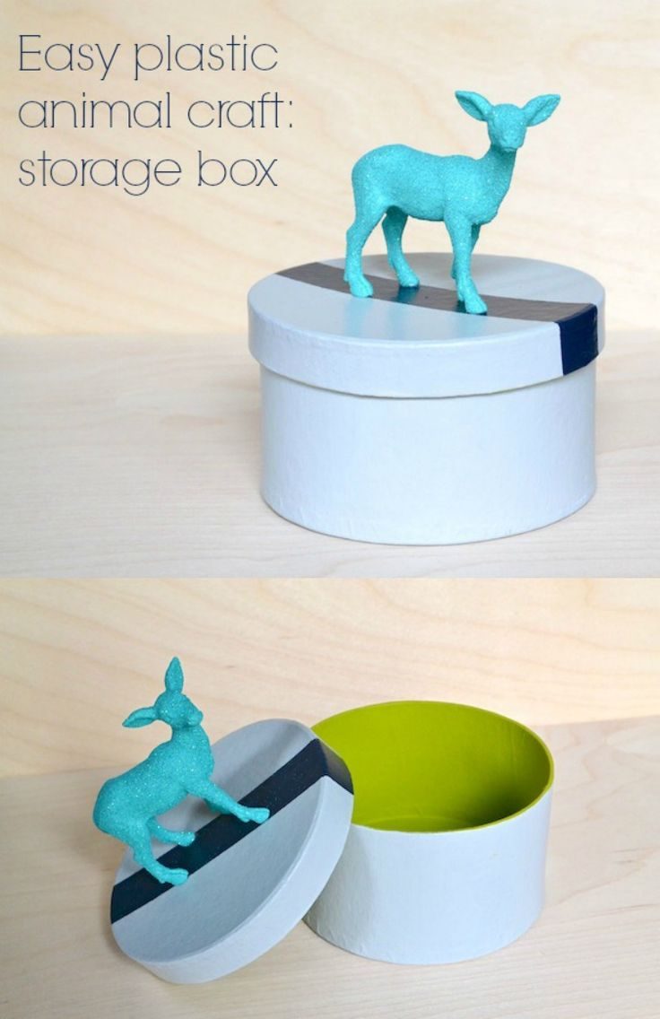 You'll love this easy plastic animal craft! Just use paint, Mod Podge and glitter to decorate this fun storage box with a deer on top.