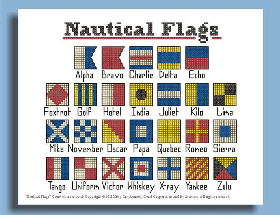 cross stitch pattern nautical flags alphabet