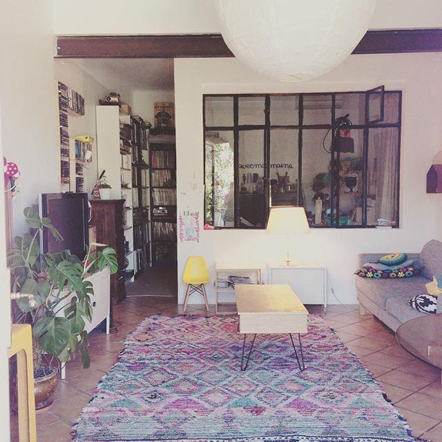 La décoration des internautes #Semaine 43 - Un salon au style bohème avec une verrière / Kinfolk living room with big industrial windows