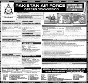 Join Pakistan Air Force 2016 PAF Jobs Online Registration SSC, SPSSC & Permanent Commission Latest -41863