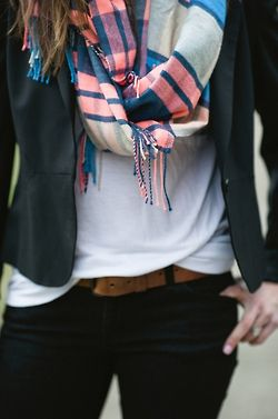 white, black, navy blazer, & of course a scarf: