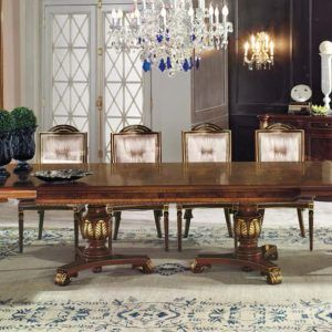 Firenze Classic Dining Room Collection A Traditional Cherry Wood Italian Design Hand Carved With Ash Burl Bois De Rose Inlays And