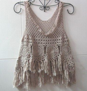 Cubrir con flecos camiseta sin mangas, chaleco con flecos Hippie, Crochet mujeres verano superior encaje Playa