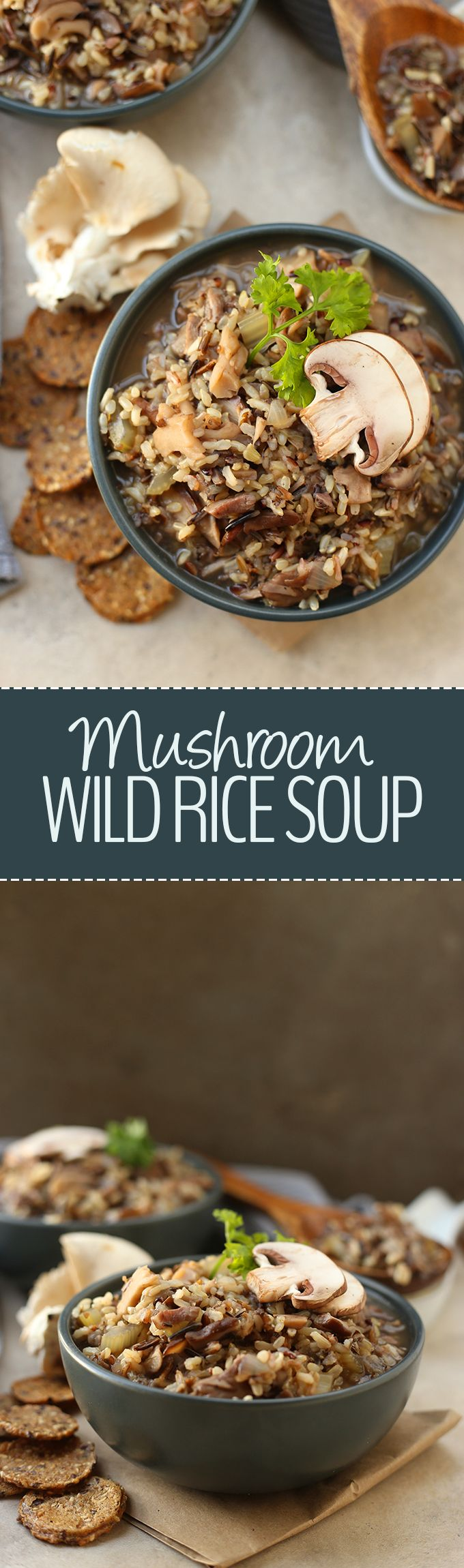 A healthy vegetarian soup recipe, this mushroom and wild rice soup is the perfect dish to keep on hand for cold winter nights! It's hearty, filling and packed-full of flavor. Plus it requires just 7 ingredients!
