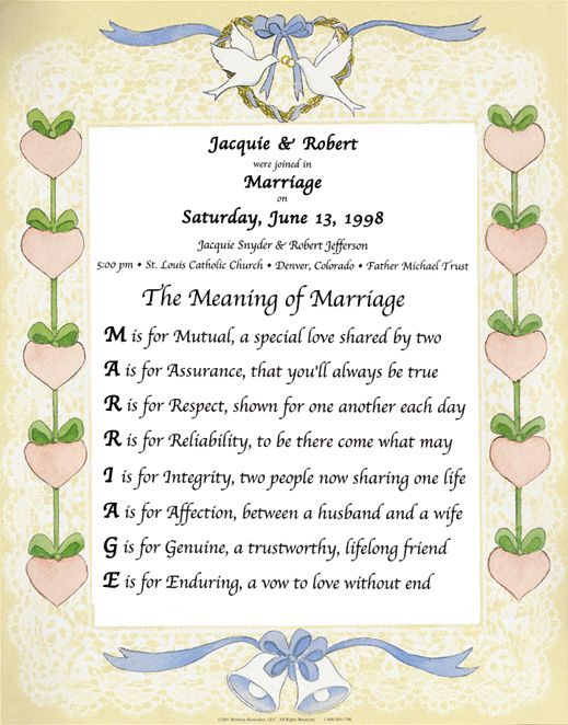 The Meaning Of Marriage Poem Each Letter Of Marriage Means Something Marriage Poem View More