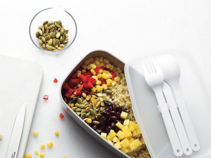 Mango salsa, quinoa, black beans, red pepper, avocado, corn and pumpkin seeds? You can call this the healthy burrito bowl.