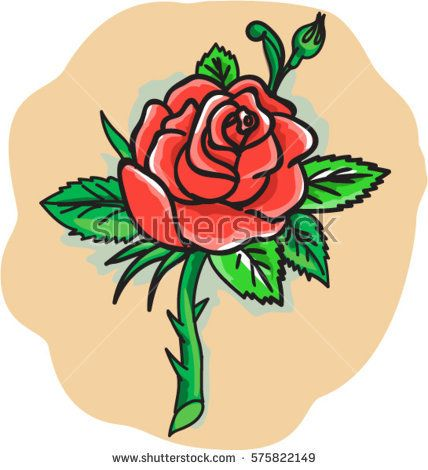 Tattoo style illustration of a red rose bud with leaves on a stem with thorns set on isolated white background.  #rose #tattoo #illustration
