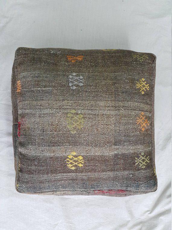Kilim Pillow Kilim Pouffe 24 28 Inches Decorative Pouf Ottoman