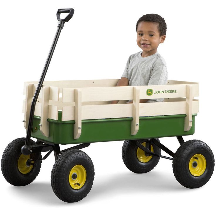 John Deere Kids Pull Wagon Toy Steel Metal Child Cart All Terrain Beach Garden #TOMY