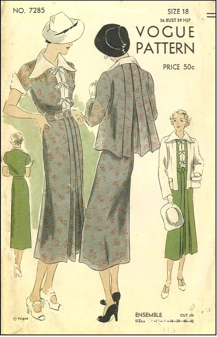 1930s Ladies Dress and Jacket Ensemble Sewing Pattern - Vogue #7285
