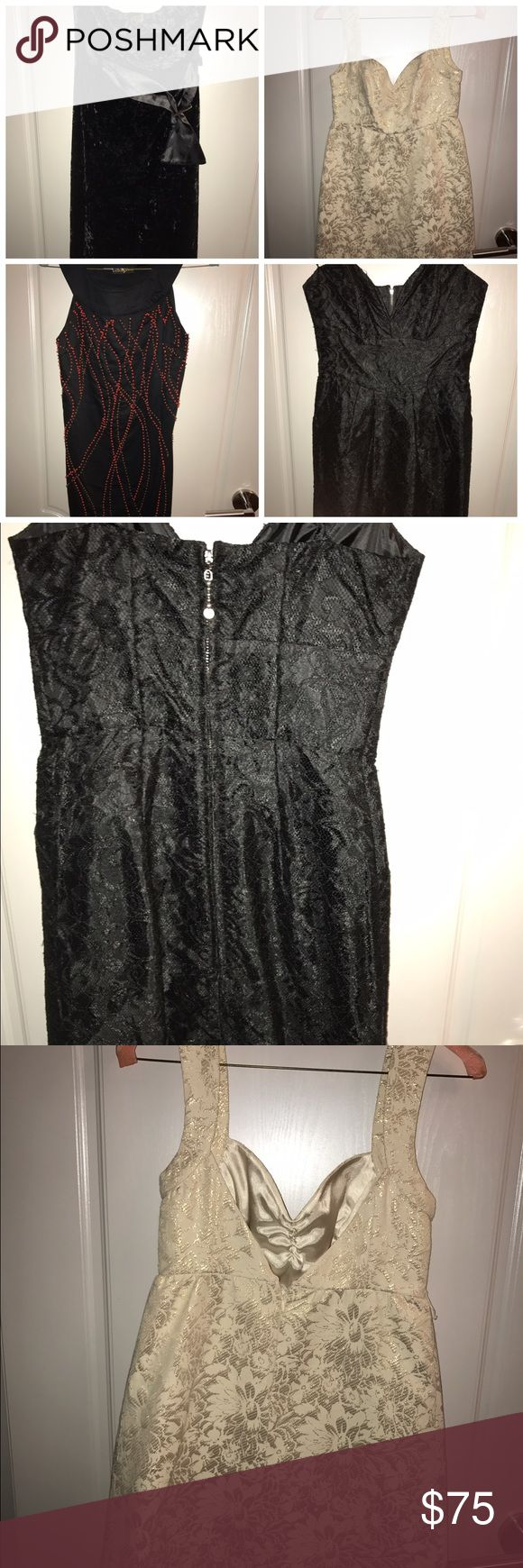 Guess Jeans Lot Of 4 dresses Sz 1 All dresses are perfect for New Year's Eve or any special occasion.  Dress 1: black lace Strapless Mini dress with sweetheart neckline and front pockets.  Dress 2: black velvet Strapless Mini dress with sash.  Dress 3: black Mini dress with red and orange front beading  Dress 4: beige gold dress with sweetheart neckline and broad straps. Check out my other Bebe and GUESS items. Guess Dresses