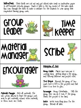These frog themed cooperative learning job tags with help students work well together while in cooperative learning groups....