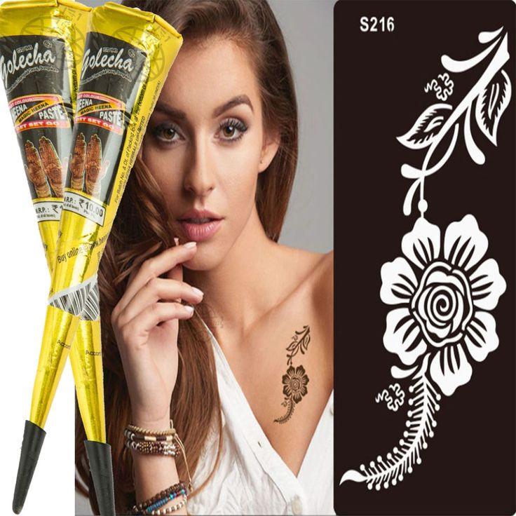 3er Set 2 Schwarz Henna Tattoo klinisch getestet 1 Airbrush Henna Schablone s216  | eBay