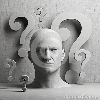 Thinking man statue with question mark on gray background to illustrate learning, education, testing, quizzing, creativity and imagination