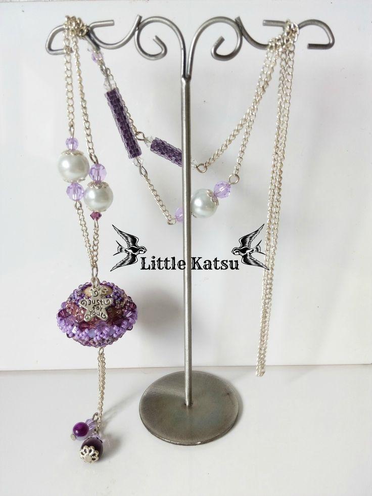 "Sautoir Perles Perlées Perles Fantaisies Violet ""Bella Violetta"" : Collier par littlekatsu"