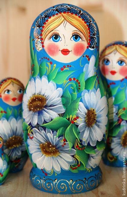 Матрешка семерка Ромашка - голубой,белый,деревянная заготовка,лак,краски акриловые