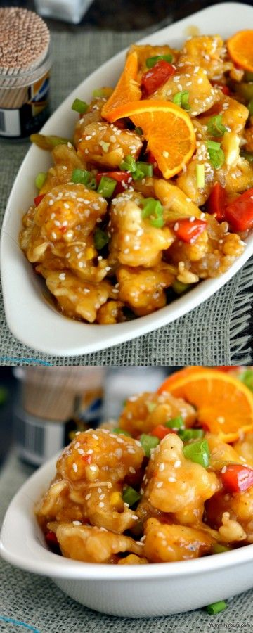 Succulent pieces of Cauliflower - Cooked Orange Chicken Style much better than take-out!
