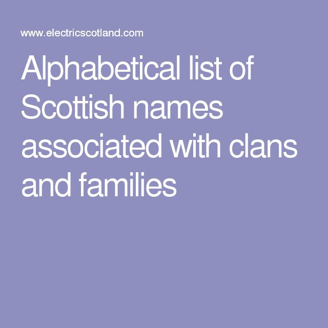 Alphabetical list of Scottish names associated with clans and families