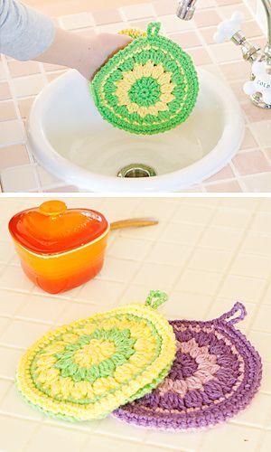 Hokkori Tawashi - Free Japanese crochet pattern with Universal crochet diagrams by Pierrot (Gosyo Co., Ltd)