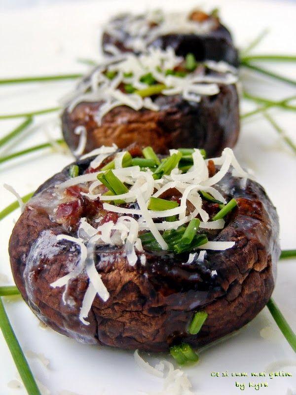 Ce si cum mai gatim: Ciuperci umplute cu jambon din piept de gisca afum...