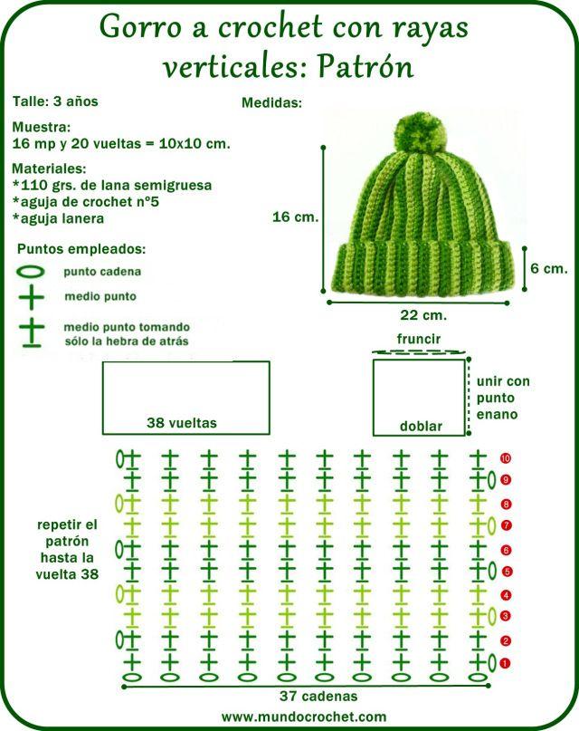 Gorro a crochet rayas verticales | SOLO PARA MI BEBE | Pinterest ...