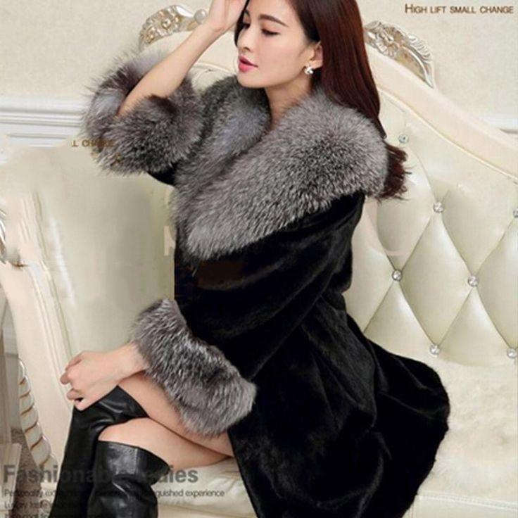 2016 New  womens fur coat Fox Fur Collar Imitation Mink Fur Coat Long Outerwear Faux Fur Jackets and Coat Women's Overcoat