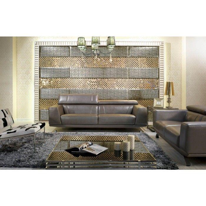 Metallic Leather Modern Sofa Set