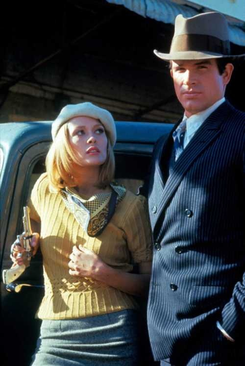 Faye Dunaway & Warren Beatty as Bonnie & Clyde. Wish someone would make her sweater today.