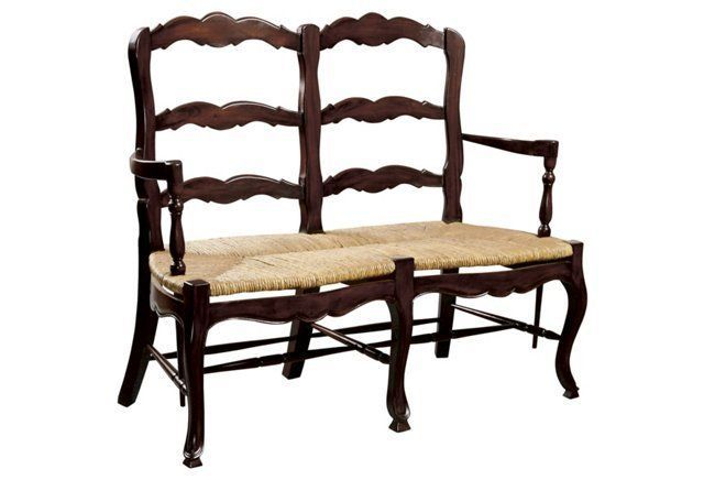 french country ladder back bench 2