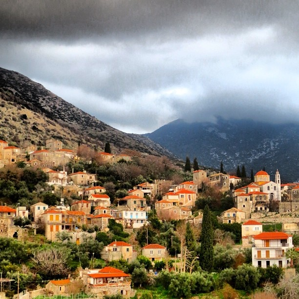 Houses on the hills near the greek village of Platsa, in the heart of the beautiful Mani region of Greece. #Padgram