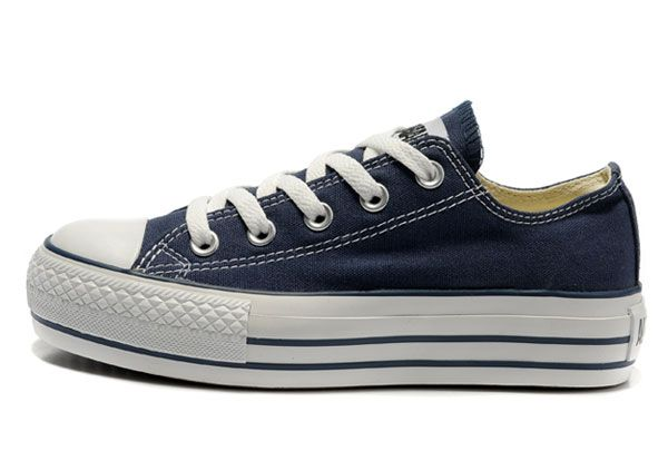 Vrouwen Converse Lage Top Blauw Platform Shoes All Star Classic Canvas Voor